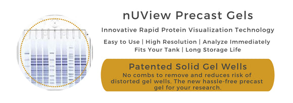 nUView Precast Gel - patented solid gel wells for easy and efficient use