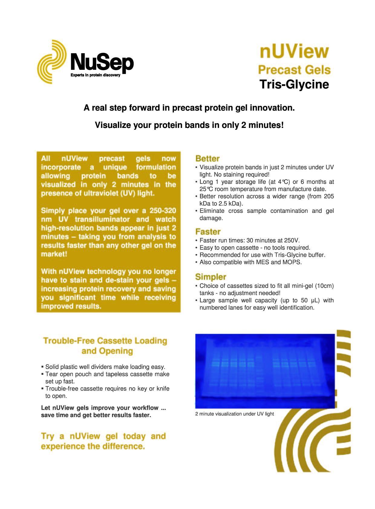 nUView Tris-Glycine Precast Gel Box for ThermoFisher/Invitrogen Tanks - protein gel innovation