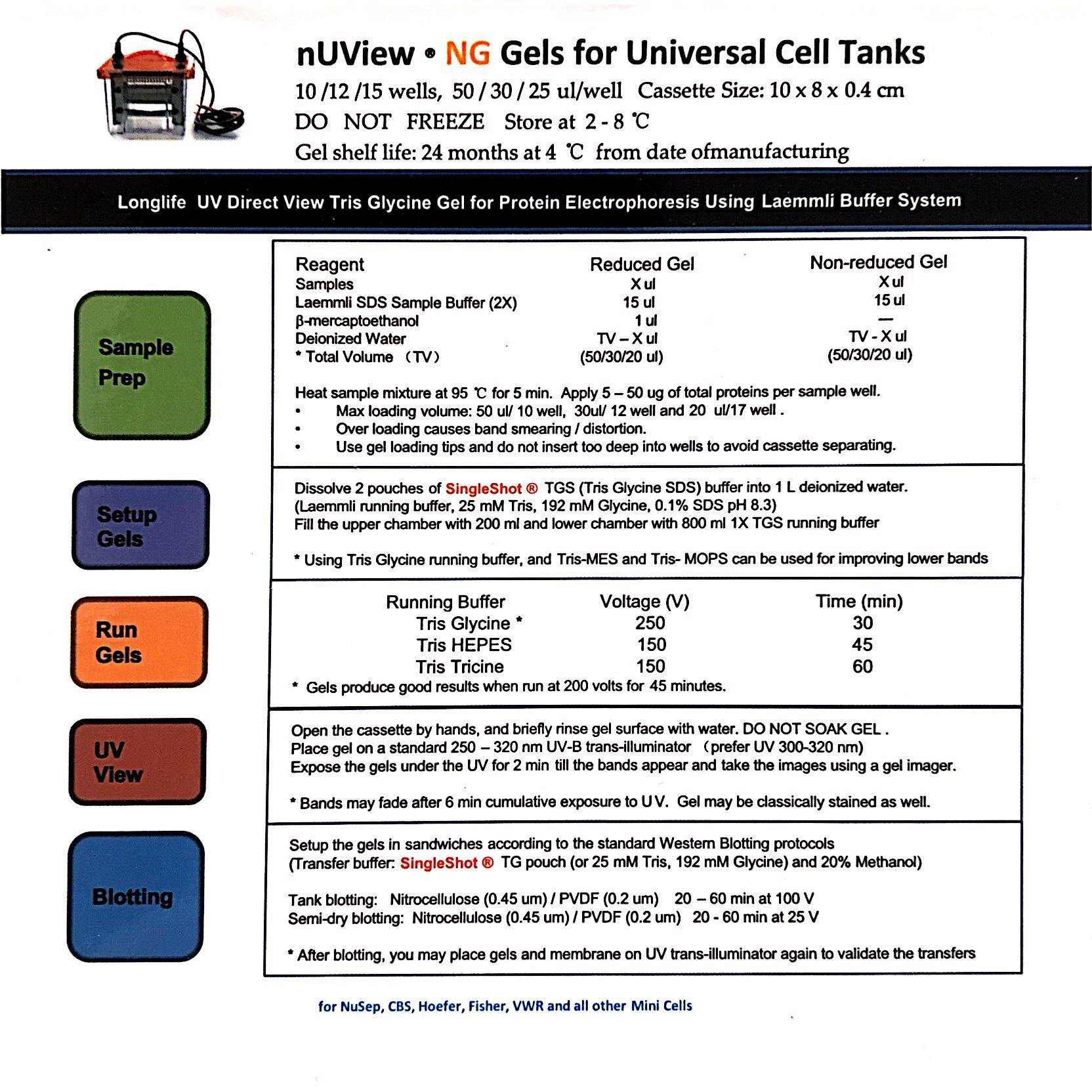 nUView Tris-Glycine Precast Gel Box for most generic tanks - technical information