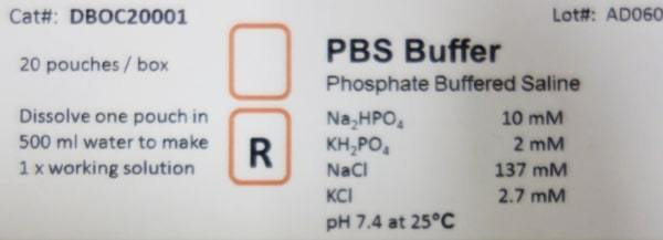 SingleShot PBS Buffer label - Phosphate Buffer Saline for Western Blotting