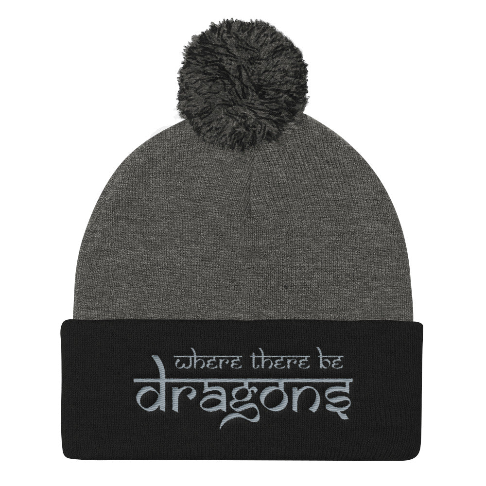 Dragons Pom Pom Beanie Heather Grey and Black