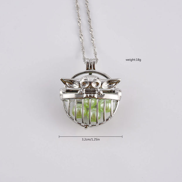 Baby Yoda Pearl Cage Necklace