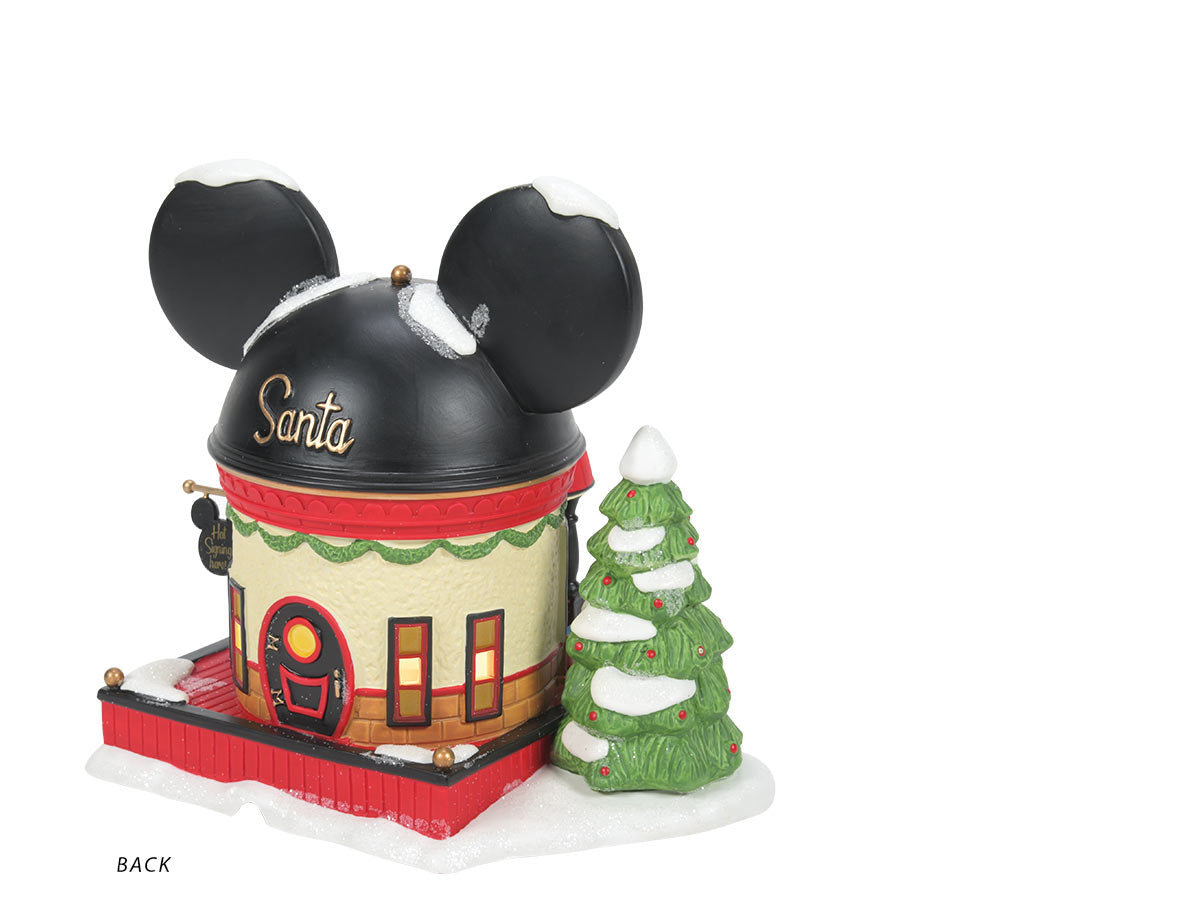 Mickey Mouse Ear Hat Shop lit building back view