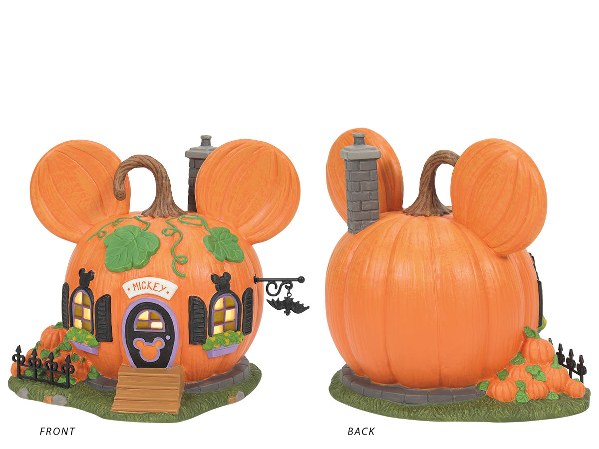 Mickey's Pumpkintown House lit building, front and back views
