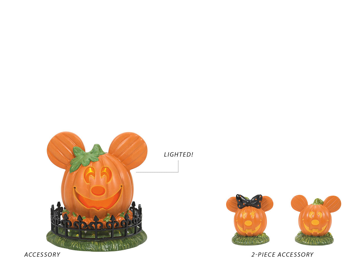 Mickey's Town Center Pumpkin accessory and Mickey's Pumpkintown Topiaries 2-piece accessory set