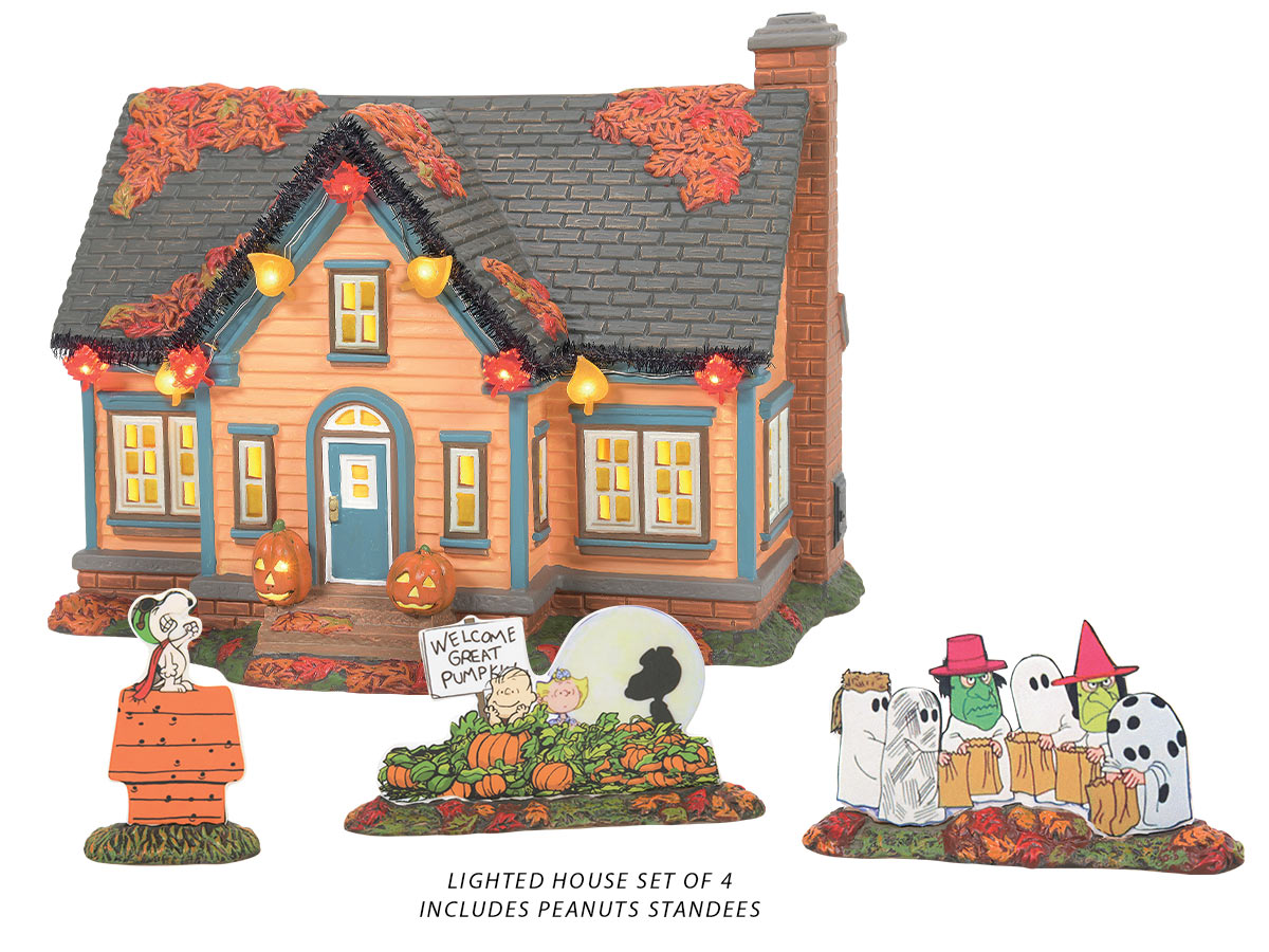Trick or Treat Lane with Peanuts lit building with figurine standees
