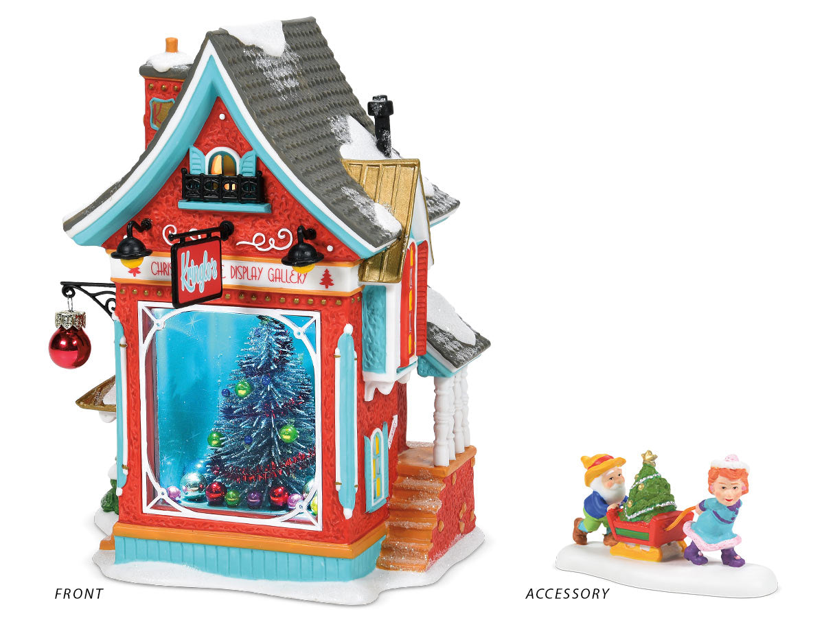 Kringle Christmas Tree Gallery lit building and Just in Time for Christmas accessory
