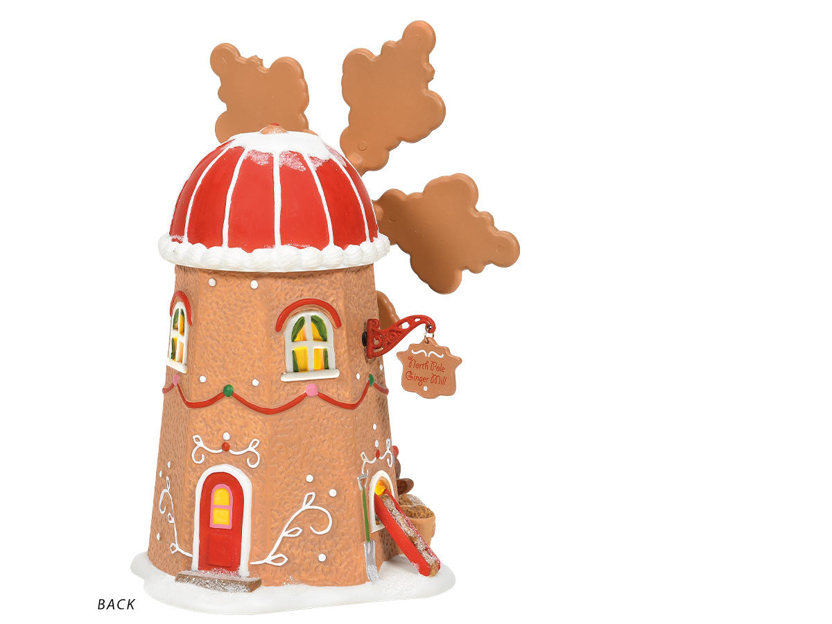 Gingerbread Cookie Mill lit building back view