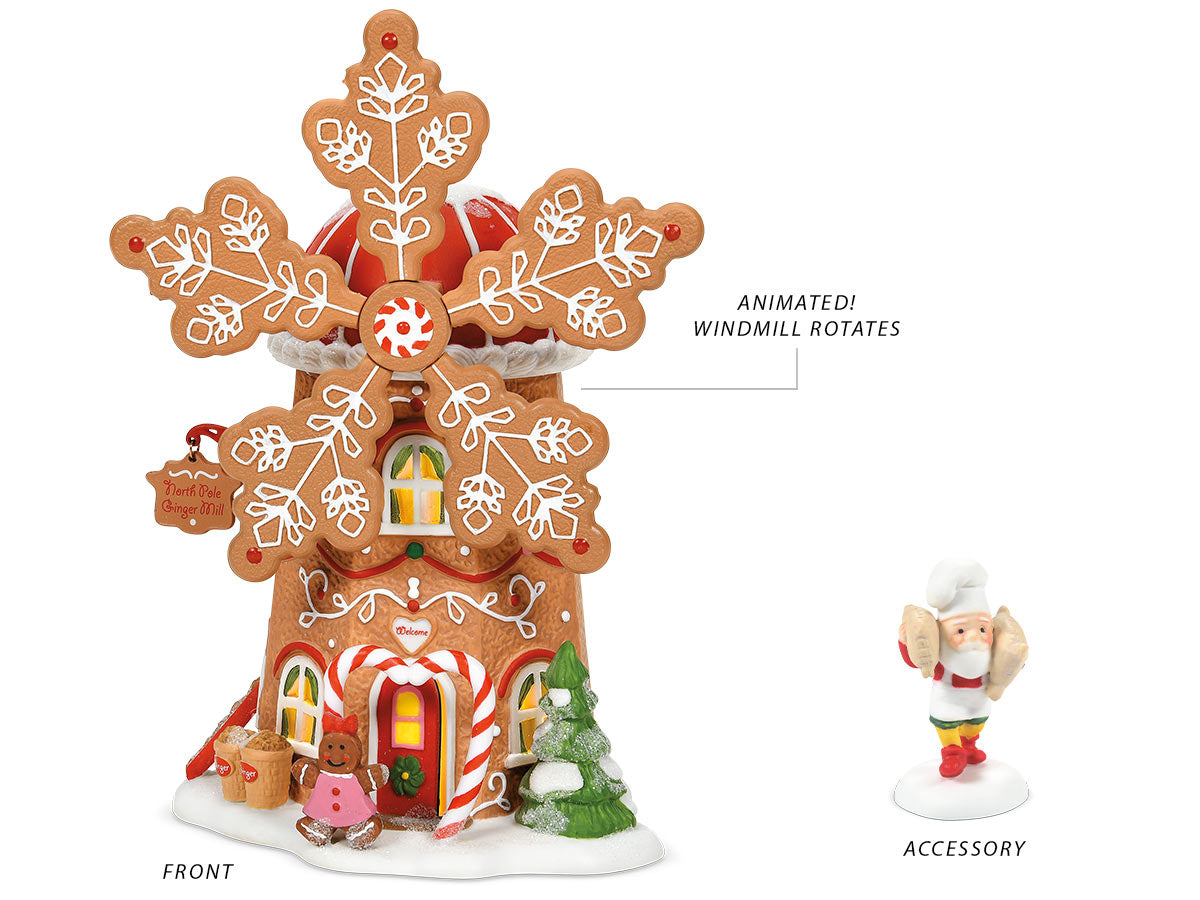 Gingerbread Cookie Mill lit building and For Spinning Into Treats accessory