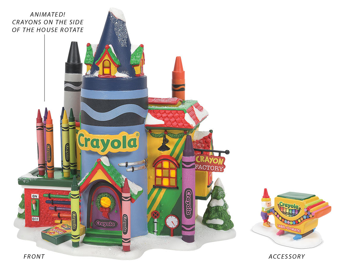 Crayola Crayon Factory lit building and That's a Wrap figurine
