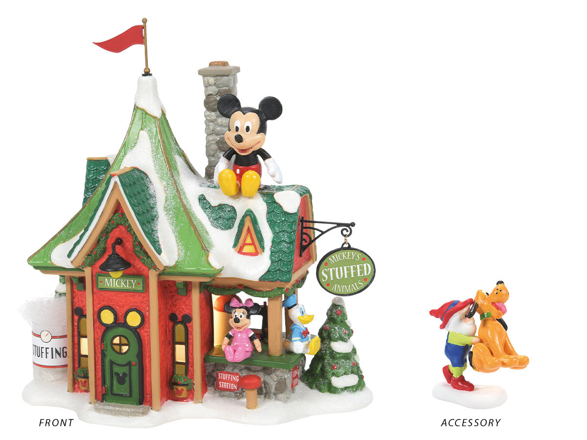 Mickey's Stuffed Animals lit building and A Huggable Christmas accessory