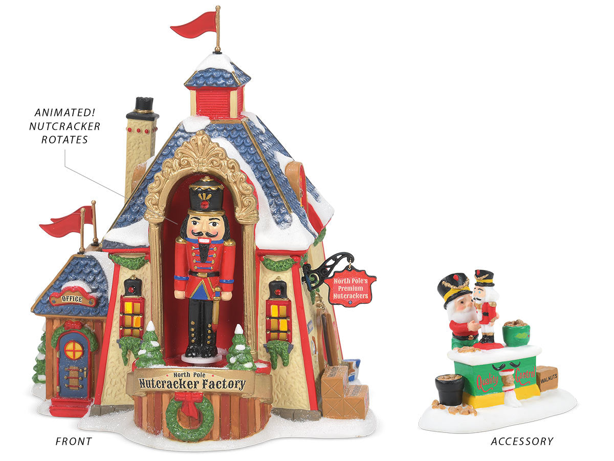 North Pole Nutcracker Factory lit building with A Cracking Good Test Result accessory