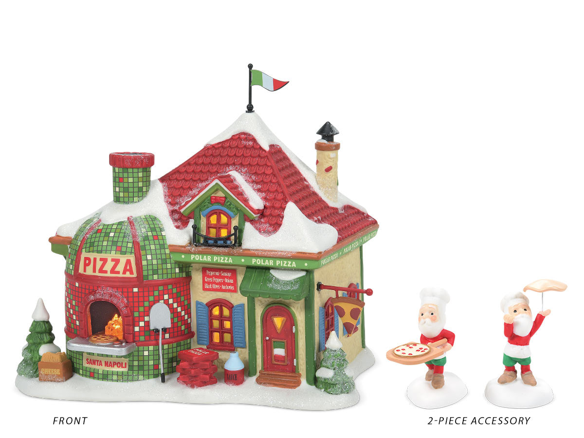 North Pole Polar Pizza lit building and One Santa Special Coming Up! accessory