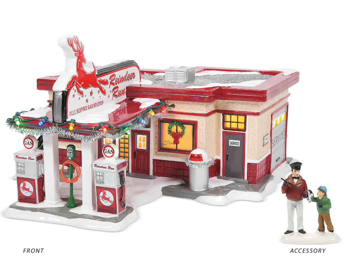 Reindeer Gas Station lit building with It's a Dipstick, Billy accessory