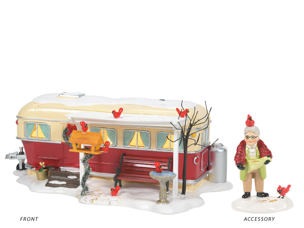 Lot 60, Christmas Court lit building with Her Fine Feathered Friends accessory