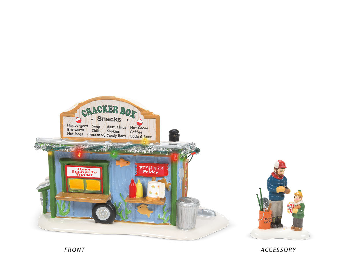 Cracker Box Snack Shack lit building and Save Some Room for Fish Sticks accessory