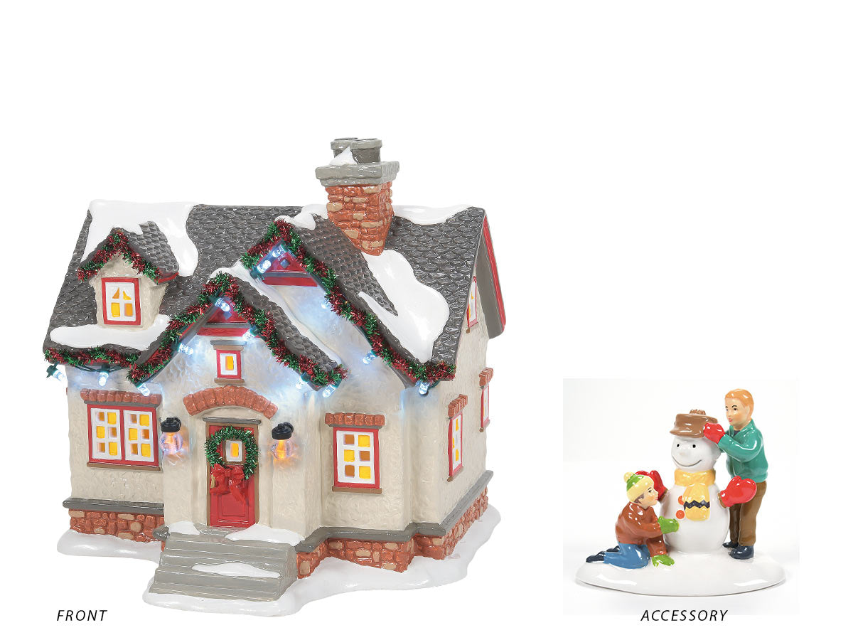 The Peanuts House lit building with It's Good Old Charlie Brown accessory