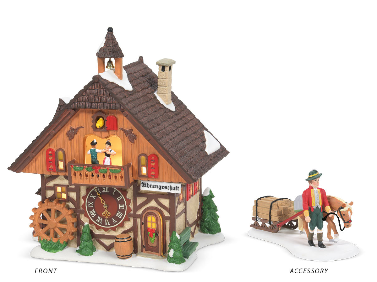 Clock Shop lit building and Just in Time Delivery figurine