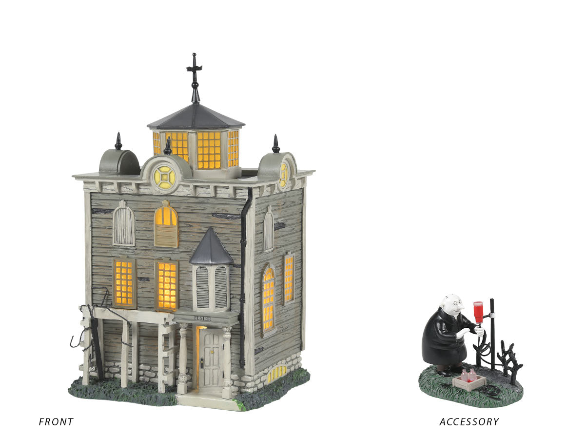 Uncle Fester's House lit building and Garden Transfusion figurine