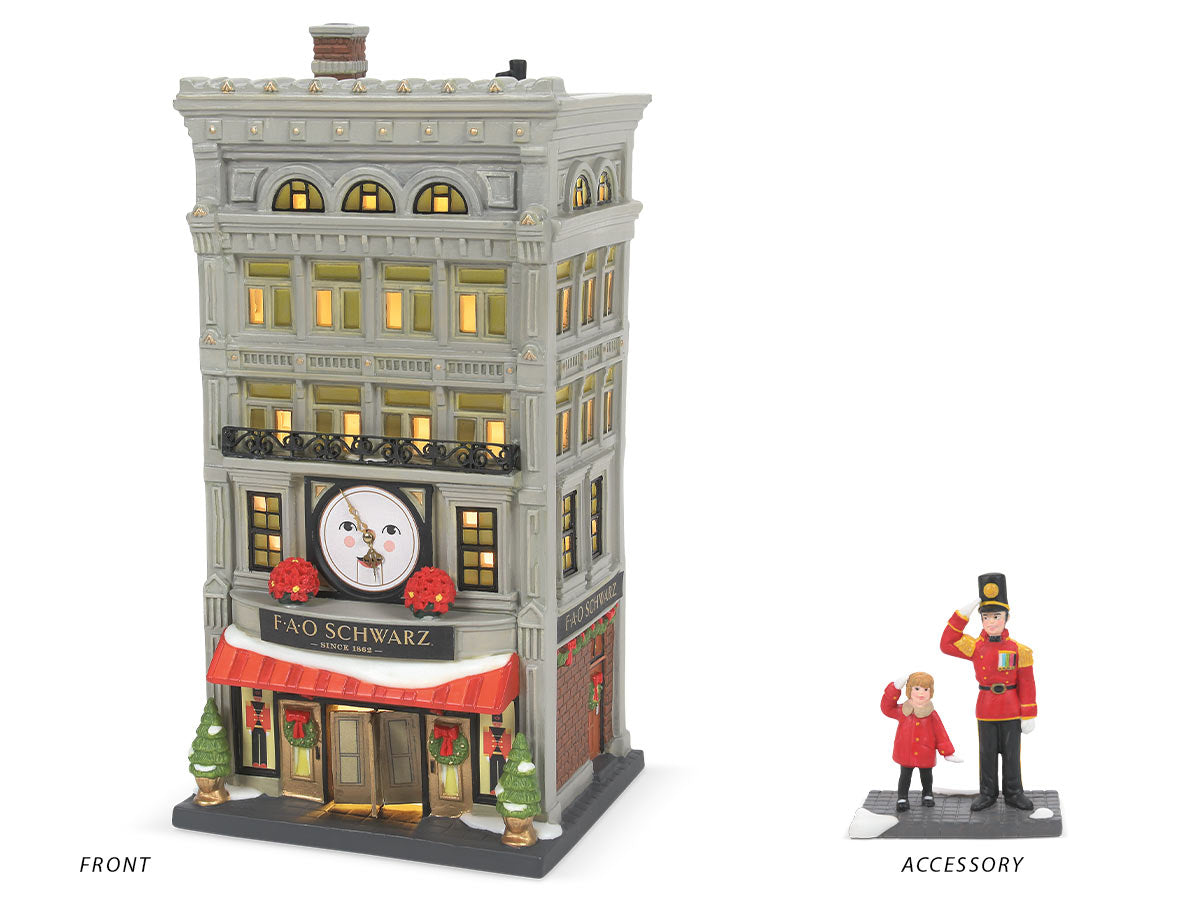 FAO Schwarz lit building and Joining Forces figurine