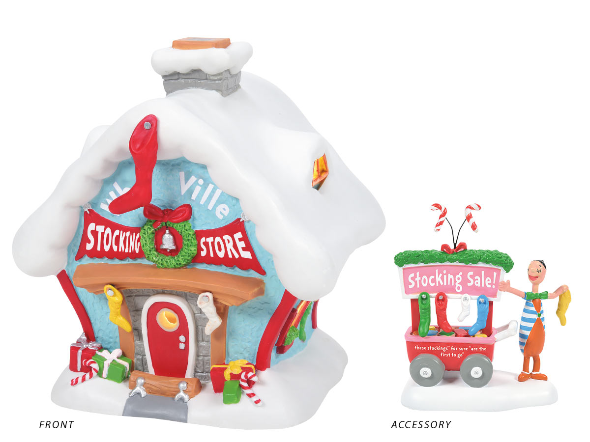 Who-ville Stocking Store lit building and A Who's Who Christmas Stocking accessory