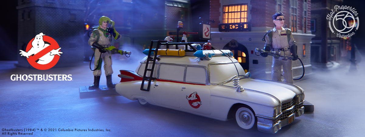 Ghostbusters Ecto-1 with Peter Venkman and Dr. Egon Spengler