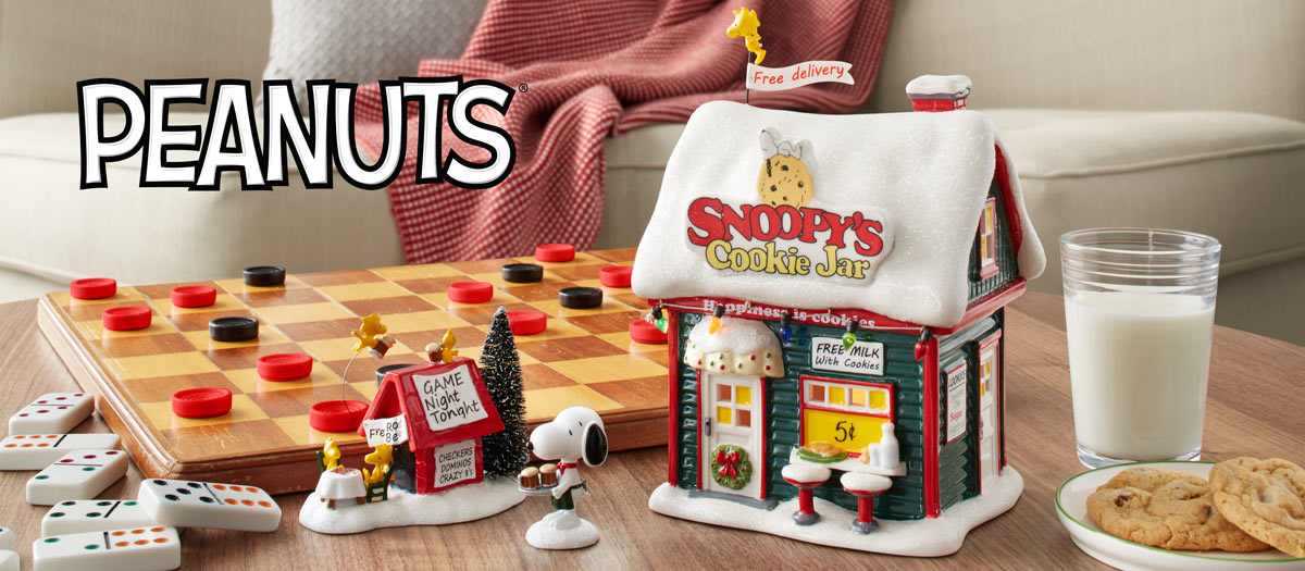 Peanuts Village from Department 56 Happy Holidays Snoopy /& WS