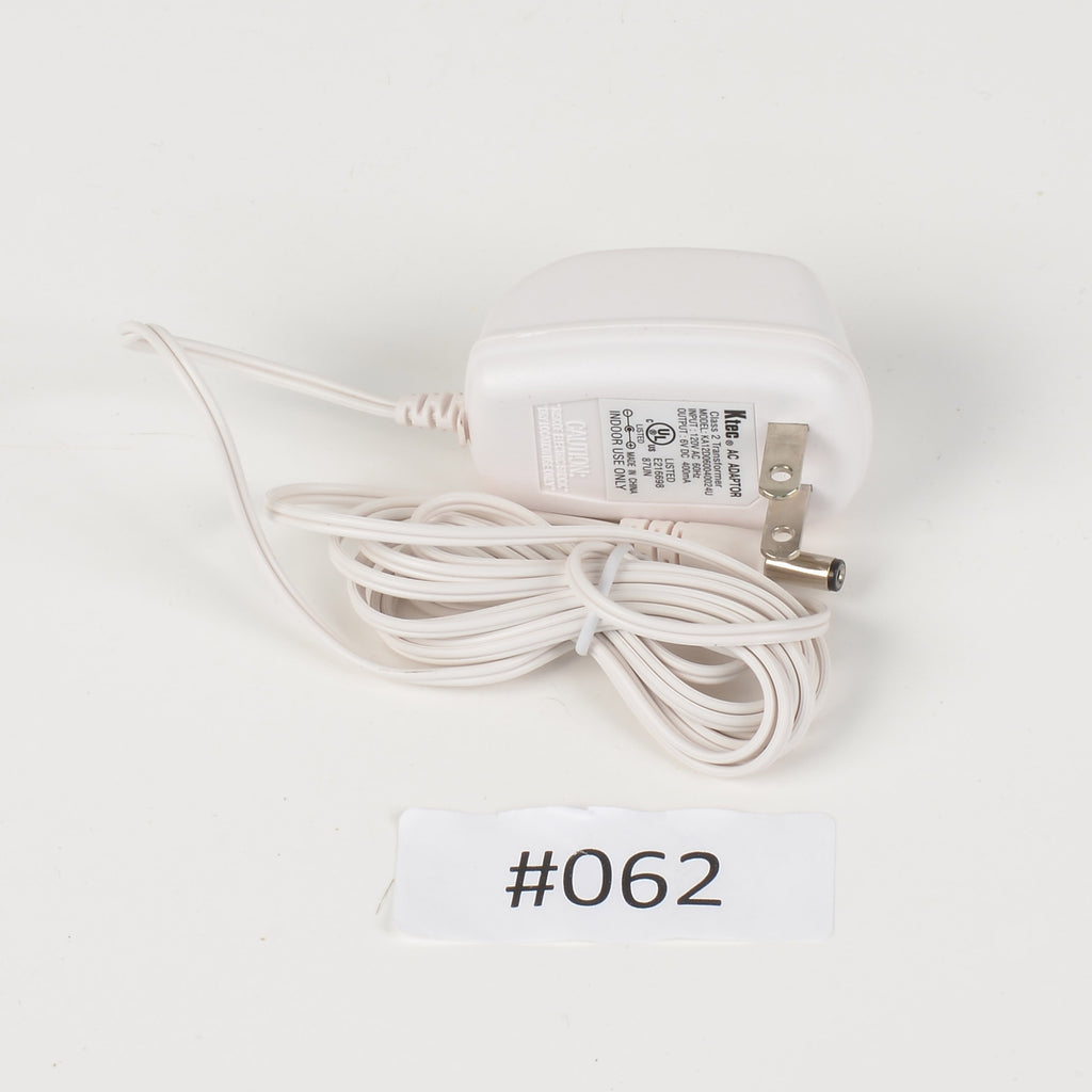 Replacement Adapter 6V DC 400mA white female jack