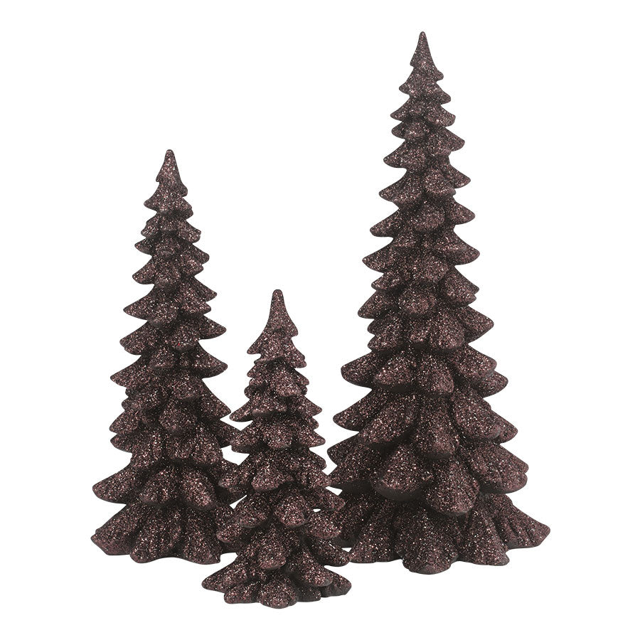 Brown Holiday Trees, Set of 3
