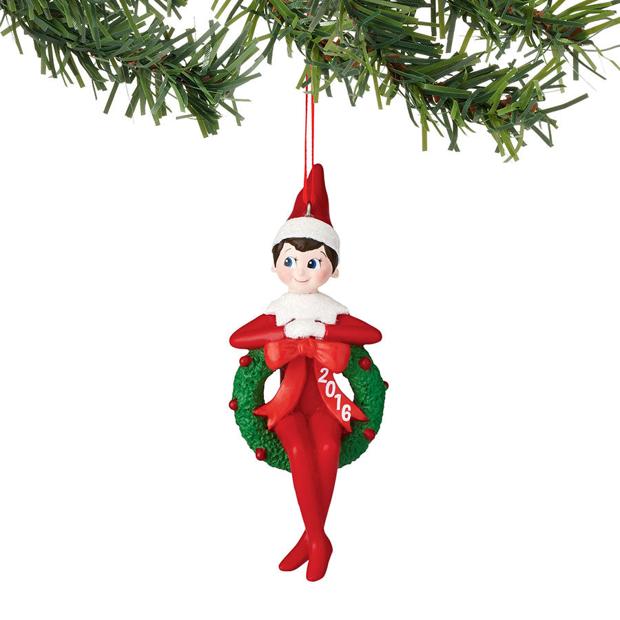 Elf In Wreath Dated Ornament