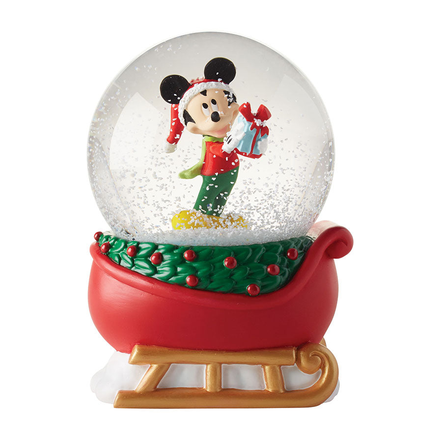 Mickey On Sleigh Snow Globe