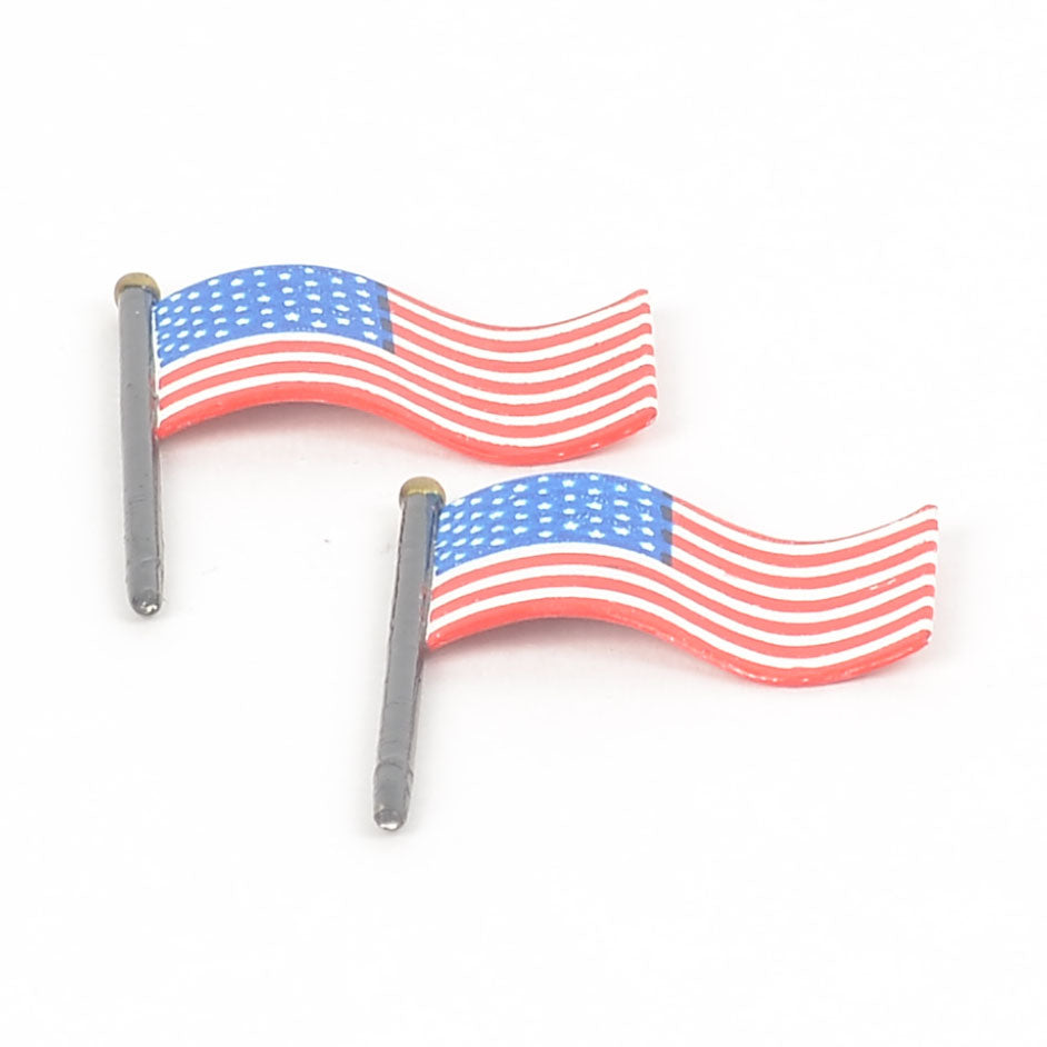 Armed Forces Recruiting Station-Set of 2 American Flags on Building
