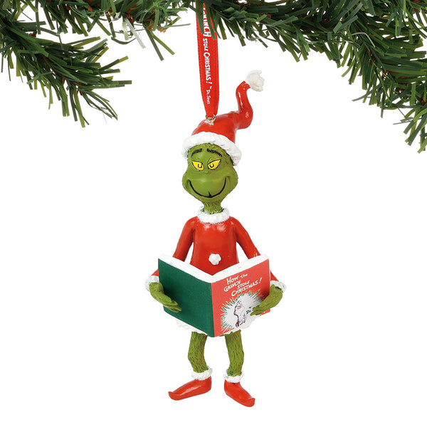grinch with the book ornament sale