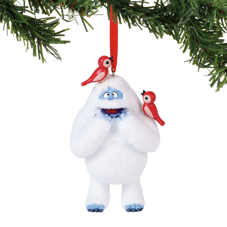 Bumble w/Birds Flocked Orn.