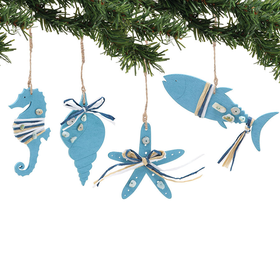 COAST Blue Wood Ornaments