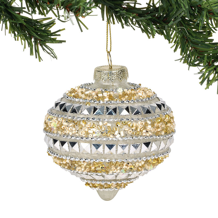 CLAXM Beaded Gold ornament