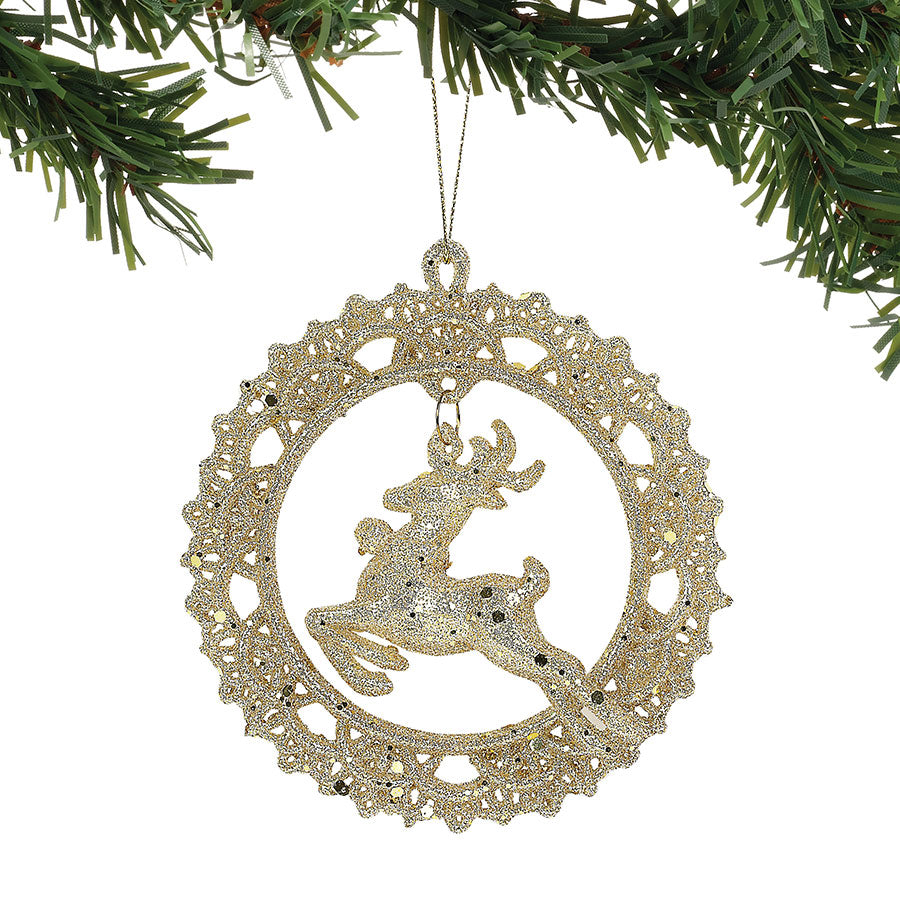 CLAXM ST/2 DEER IN WREATH ORN