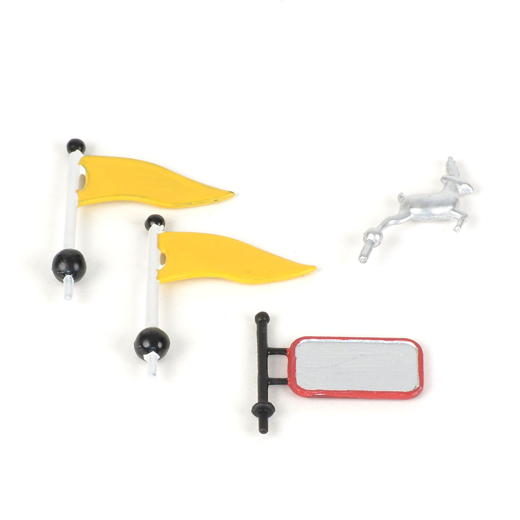 Dumpy's Toy Trucks Hood Ornament & Side-Mirror Sign & Yellow Flags (2)