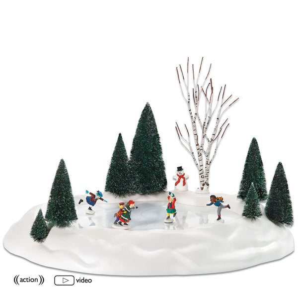 new animated skating pond - Animated Christmas Village