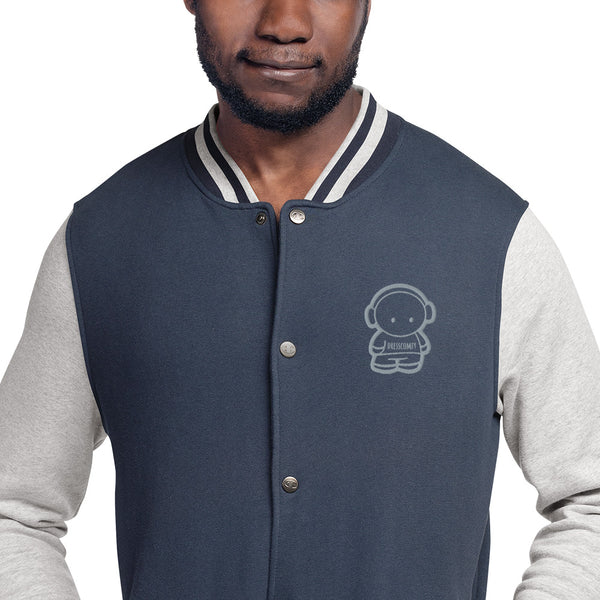 DressComfy Embroidered Champion Bomber Jacket Navy