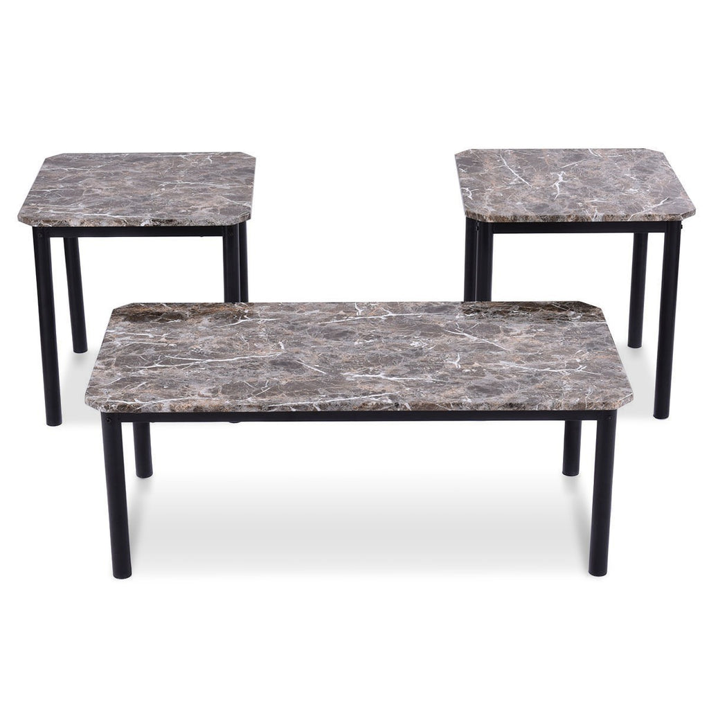 3 pcs Marble Look Coffee Table and End Tables Set