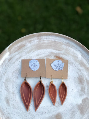 Small Teardrop Leather Earrings