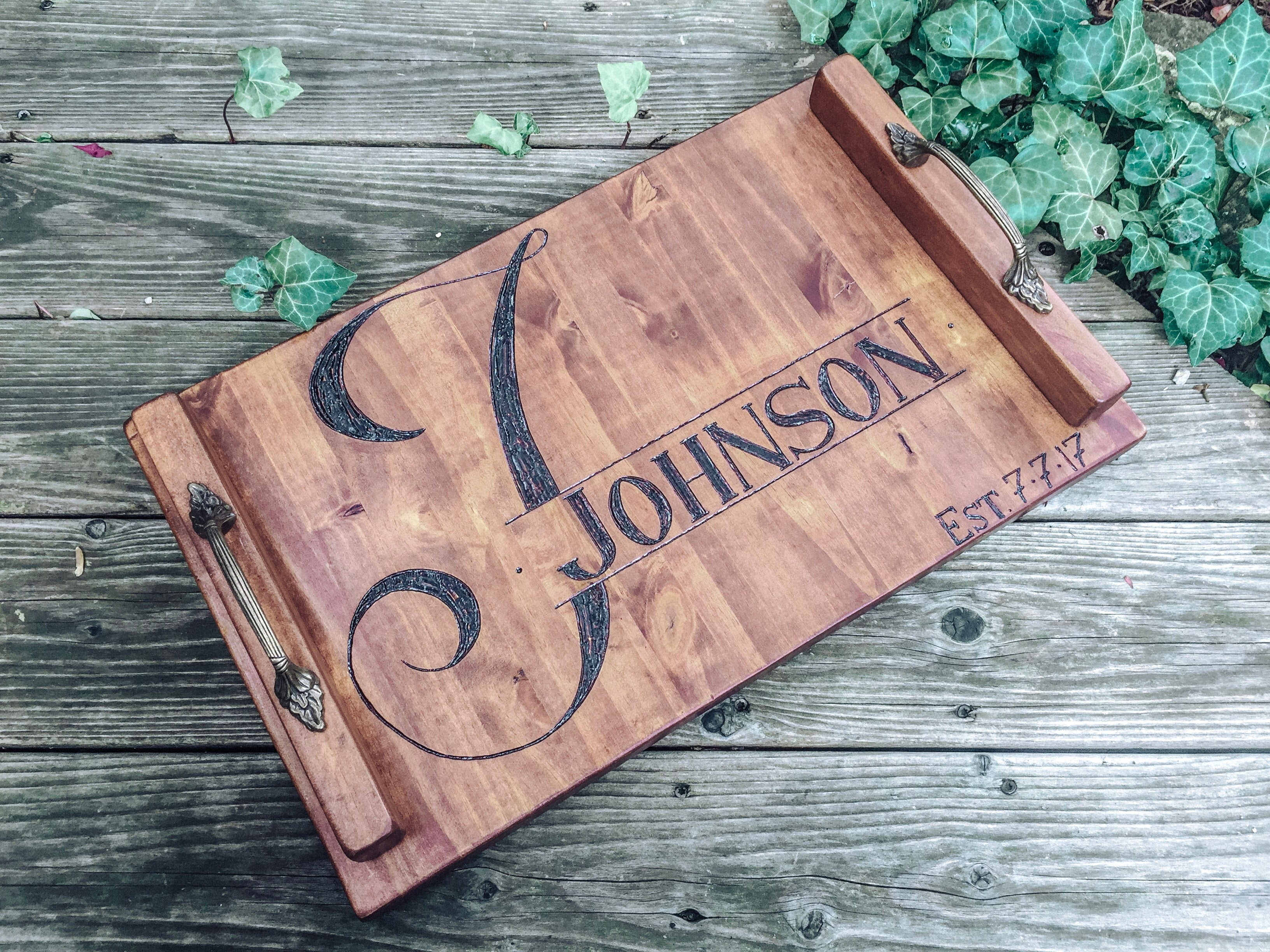 Hand-Made Monogram + Last Name Tray