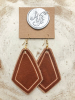 Large Diamond Leather Earrings