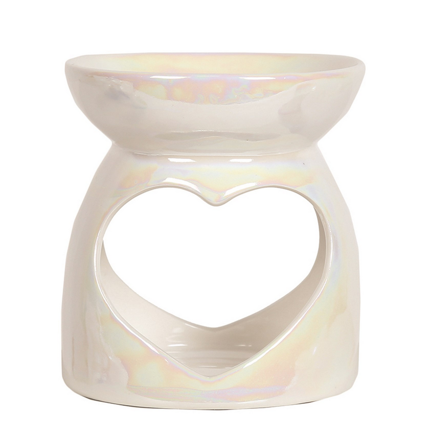 WHITE PEARL HEART WAX BURNER