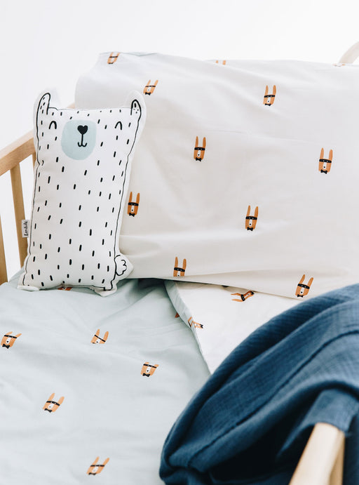 Set of Bandit Bear Duvet cover for Cradle + Otto Decorative Cushion