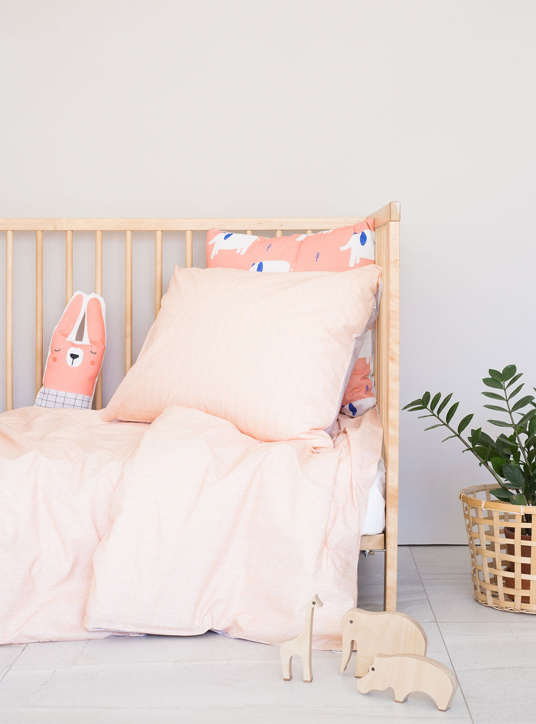 Set of Soft Peach Duvet cover for cradle + Smug Bear Decorative Cushion