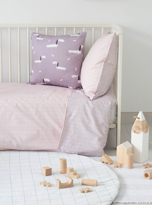 Set of Soft Pink Duvet cover for cradle + Momo Pillowcase 45 x 45 cm