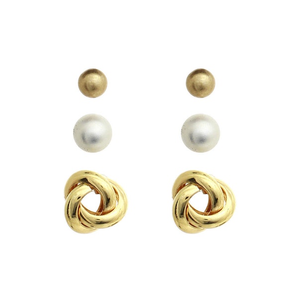 3 Pair Gold Tone Ball Love Knot Faux Pearl Fashion Costume Earrings