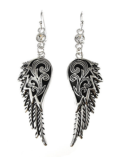 Angel Wing Silver Tone Rhinestone Dangle Drop Earrings